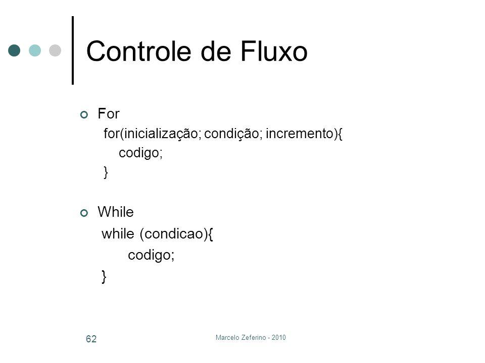 Controle de Fluxo For While while (condicao){