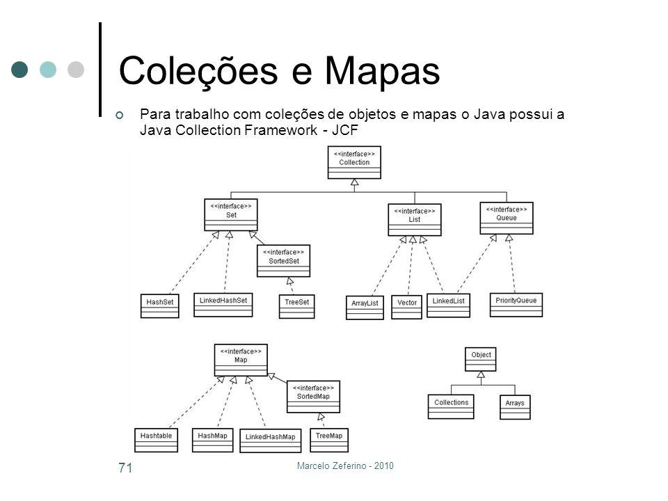 Coleções e Mapas Para trabalho com coleções de objetos e mapas o Java possui a Java Collection Framework - JCF.