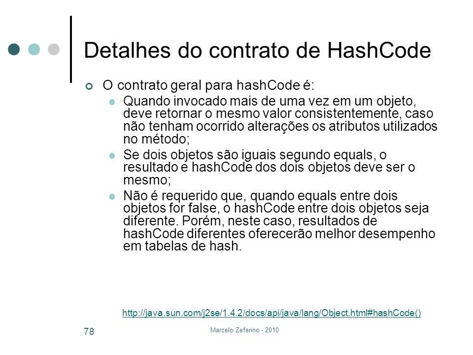 Detalhes do contrato de HashCode