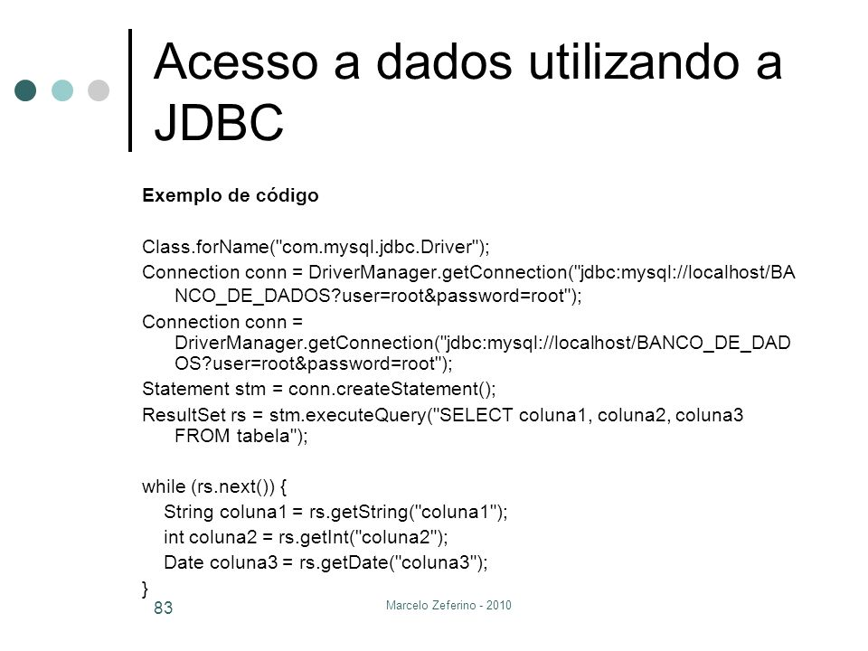 Acesso a dados utilizando a JDBC