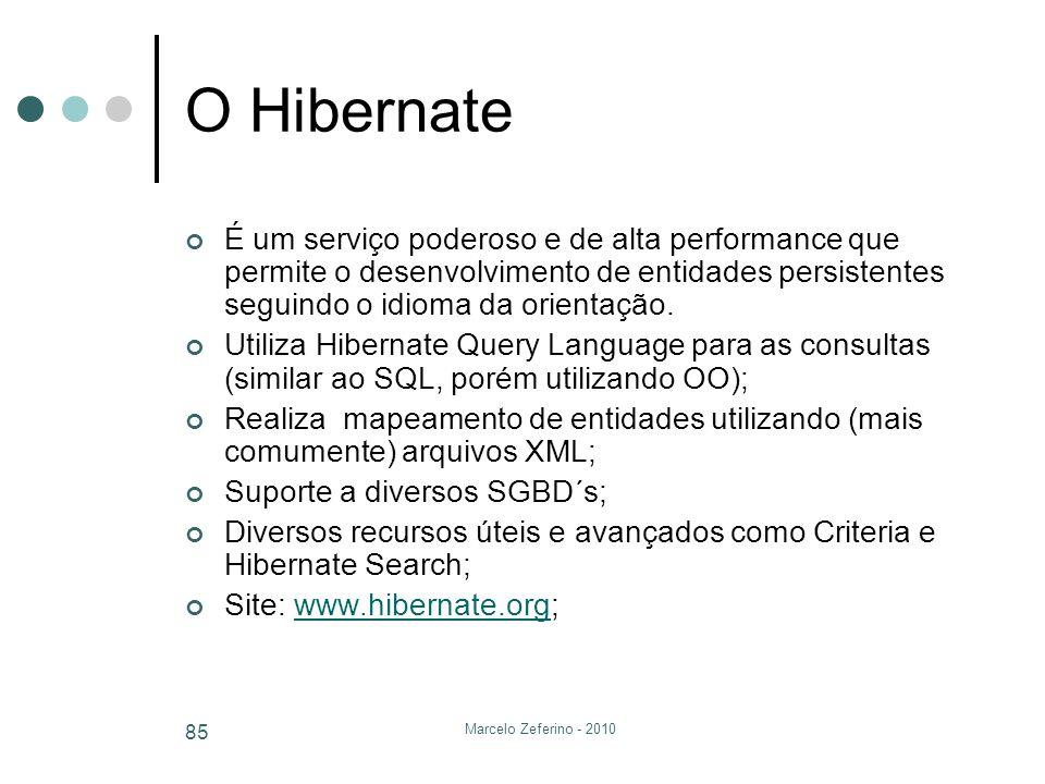 O Hibernate É um serviço poderoso e de alta performance que permite o desenvolvimento de entidades persistentes seguindo o idioma da orientação.
