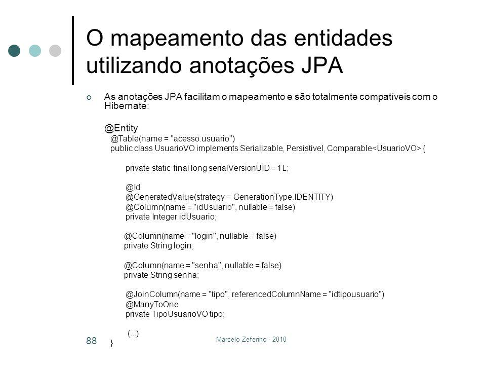 O mapeamento das entidades utilizando anotações JPA