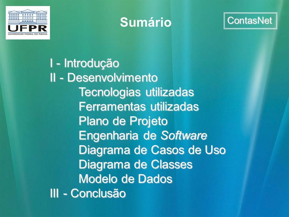 Sumário I - Introdução II - Desenvolvimento Tecnologias utilizadas