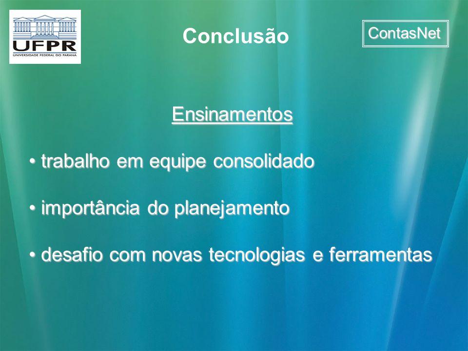 Conclusão Ensinamentos trabalho em equipe consolidado