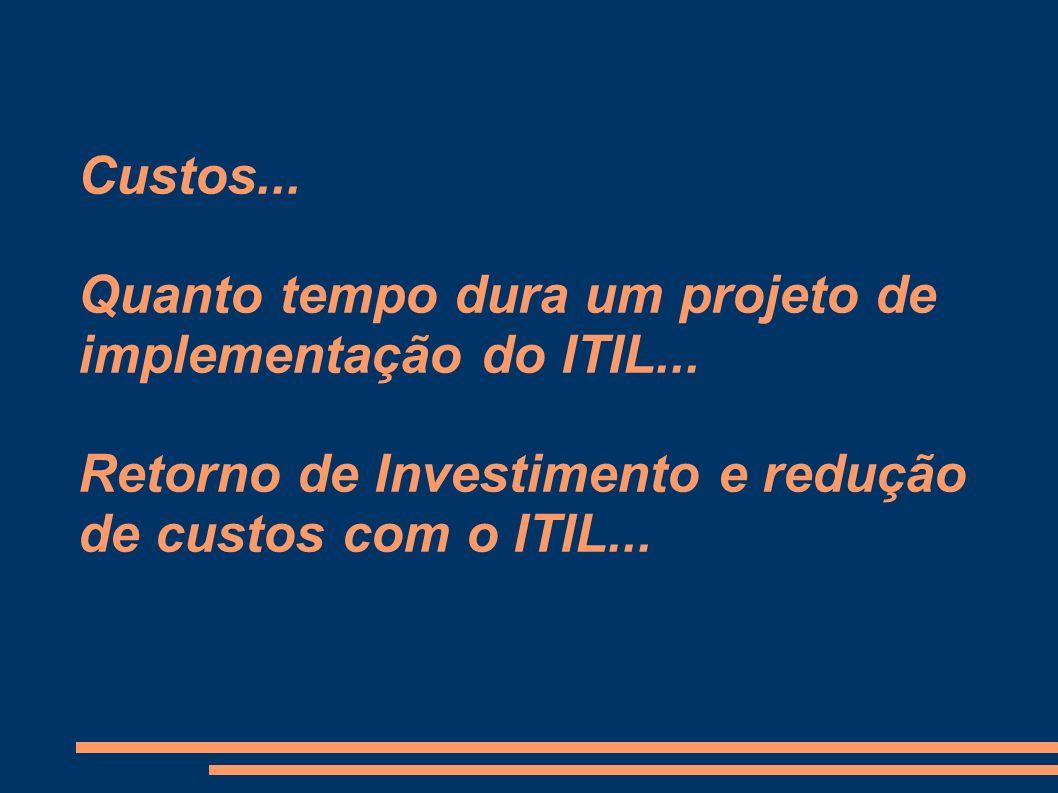 Custos. Quanto tempo dura um projeto de implementação do ITIL