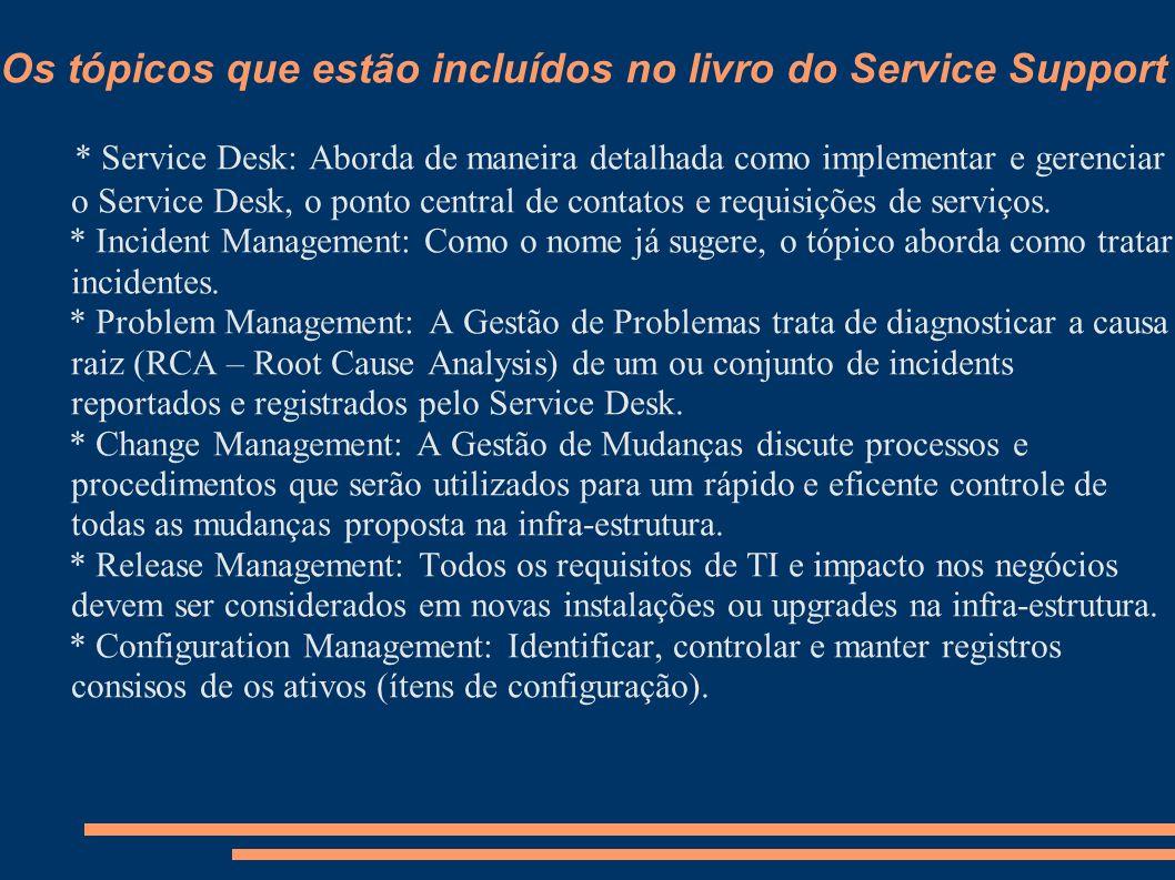 Os tópicos que estão incluídos no livro do Service Support
