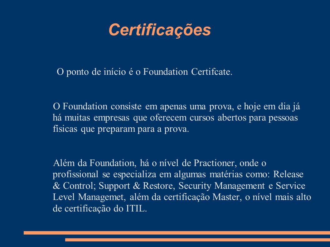 Certificações O ponto de início é o Foundation Certifcate.