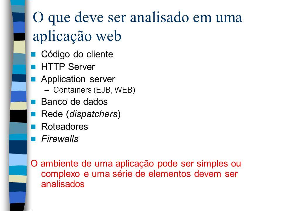 O que deve ser analisado em uma aplicação web