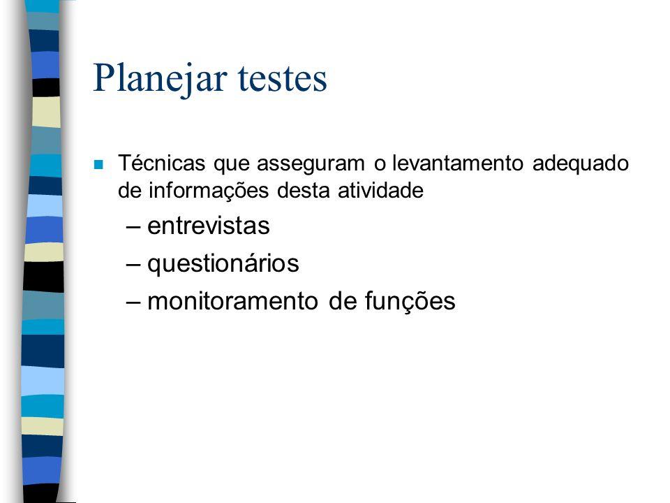 Planejar testes entrevistas questionários monitoramento de funções