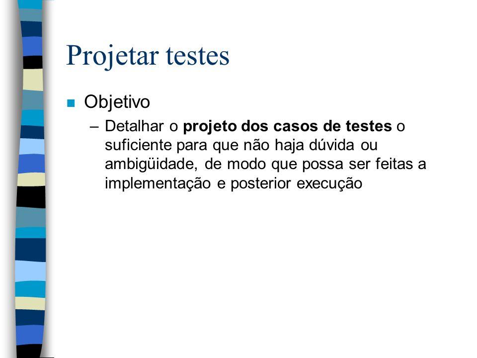 Projetar testes Objetivo