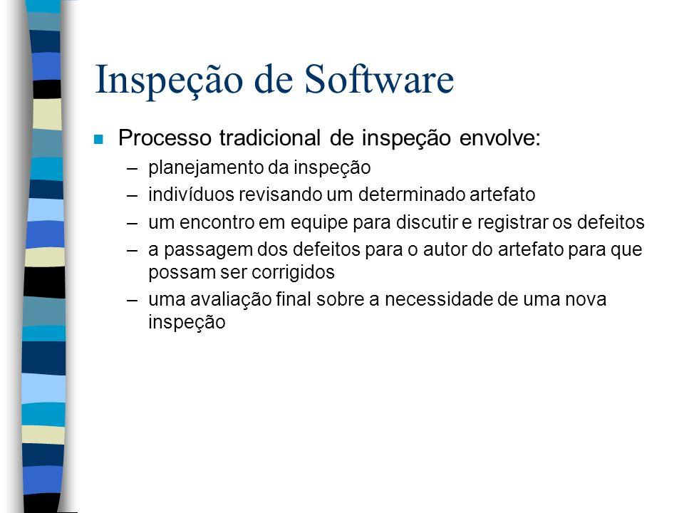Inspeção de Software Processo tradicional de inspeção envolve: