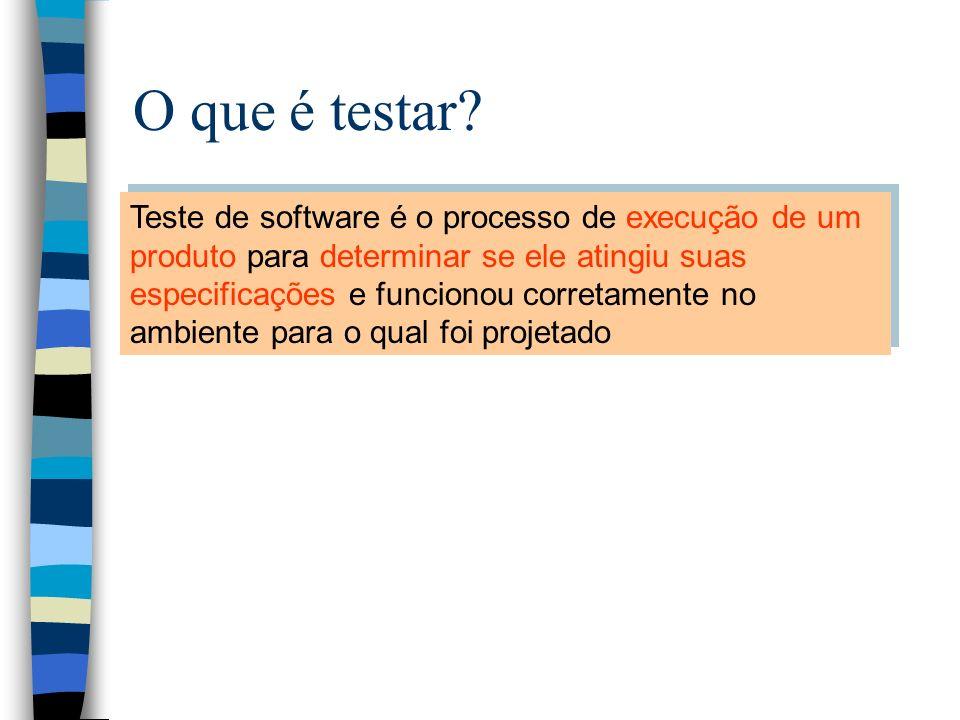 O que é testar Teste de software é o processo de execução de um