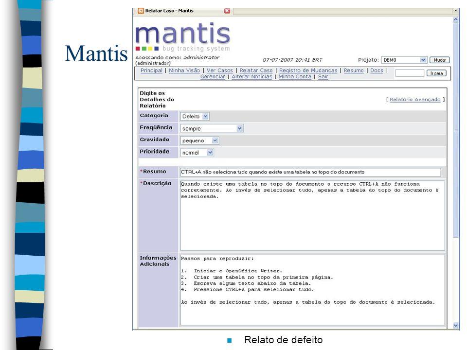 Mantis Relato de defeito