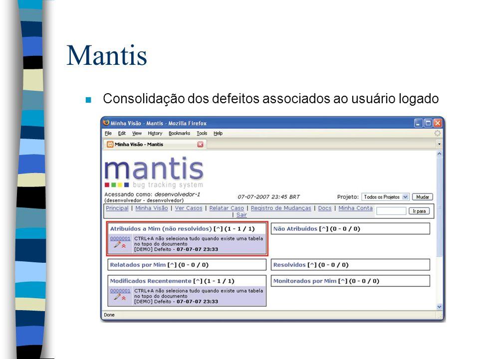 Mantis Consolidação dos defeitos associados ao usuário logado