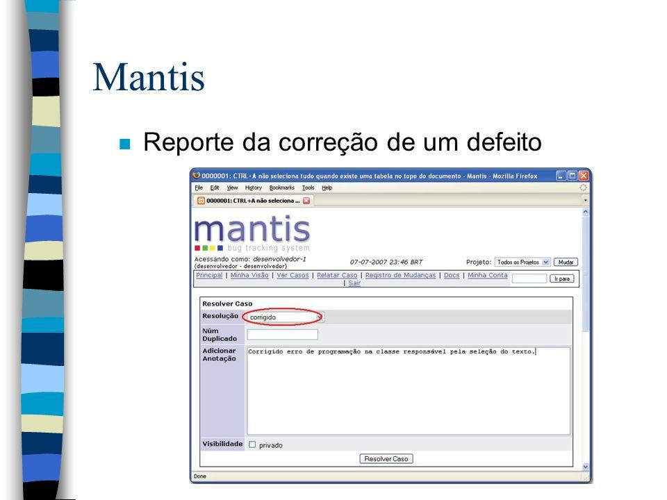 Mantis Reporte da correção de um defeito