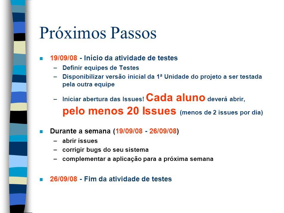 Próximos Passos 19/09/08 - Início da atividade de testes
