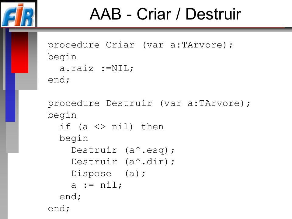 AAB - Criar / Destruir procedure Criar (var a:TArvore); begin
