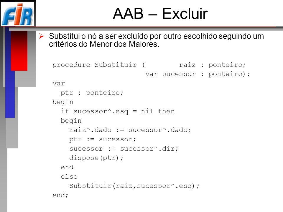 AAB – Excluir Substitui o nó a ser excluído por outro escolhido seguindo um critérios do Menor dos Maiores.