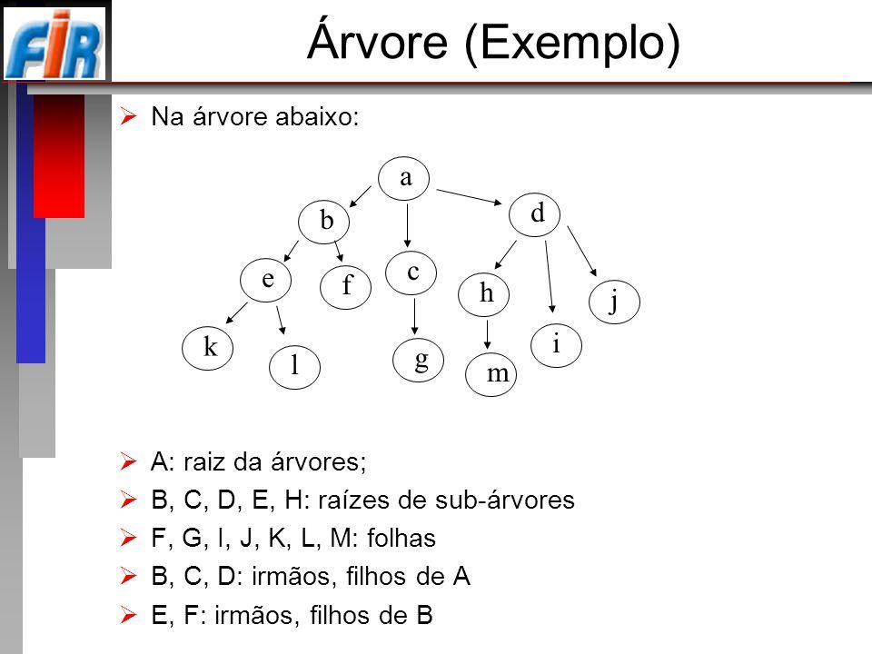 Árvore (Exemplo) a d b c e f h j i k g l m Na árvore abaixo: