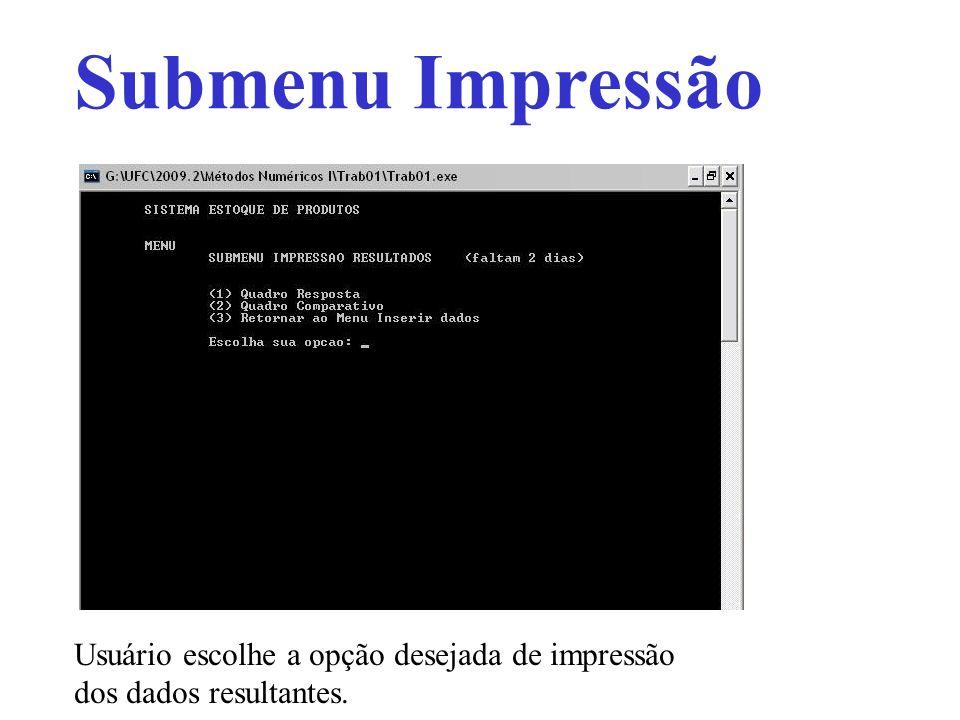 Submenu Impressão Usuário escolhe a opção desejada de impressão dos dados resultantes.