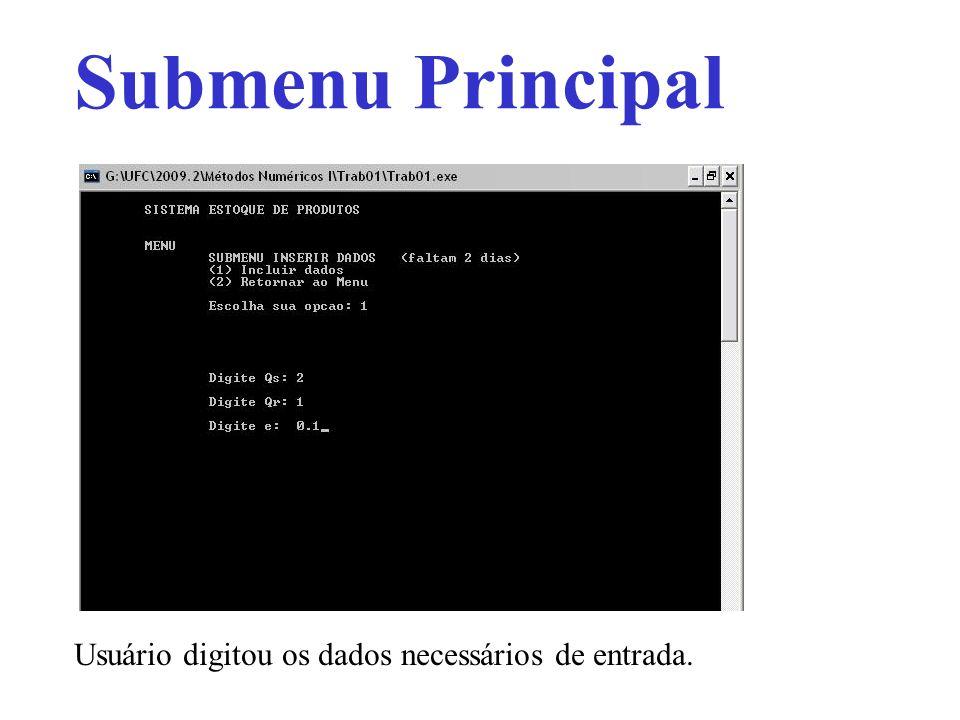 Submenu Principal Usuário digitou os dados necessários de entrada.