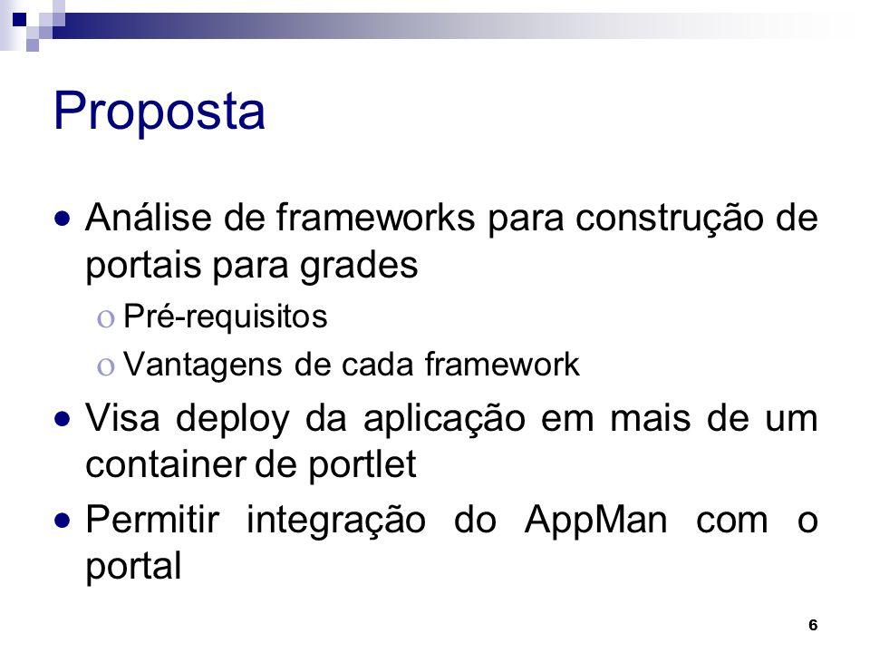 Proposta Análise de frameworks para construção de portais para grades
