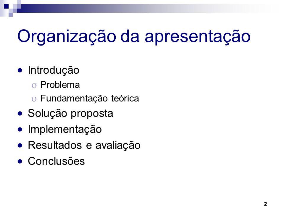 Organização da apresentação