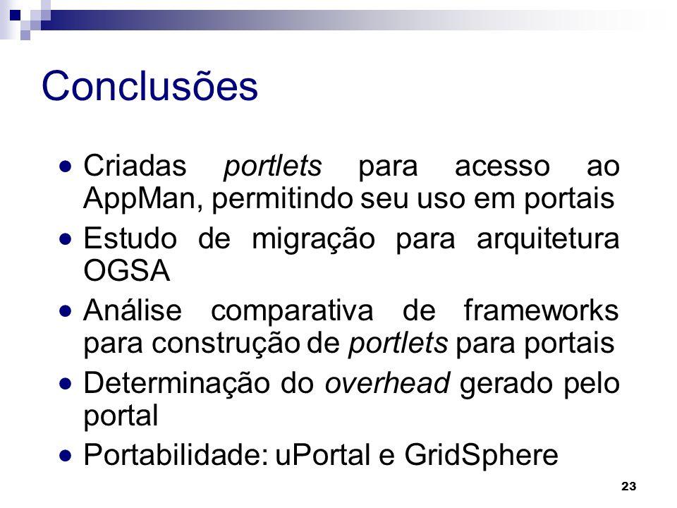 Conclusões Criadas portlets para acesso ao AppMan, permitindo seu uso em portais. Estudo de migração para arquitetura OGSA.