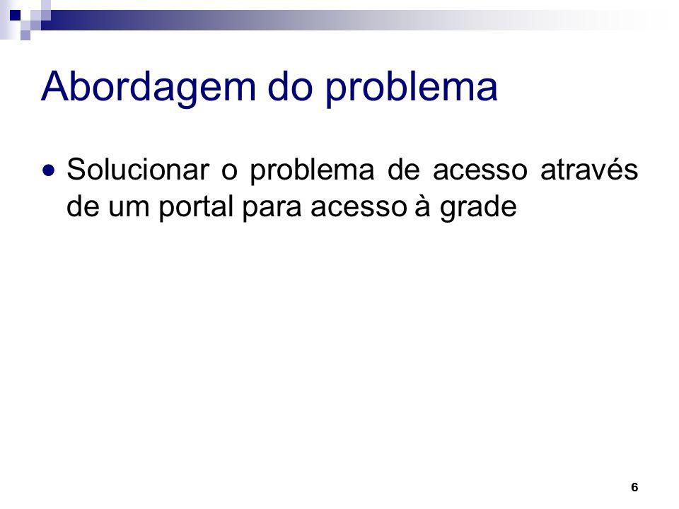 Abordagem do problema Solucionar o problema de acesso através de um portal para acesso à grade. E como esse problema vai se resolvido
