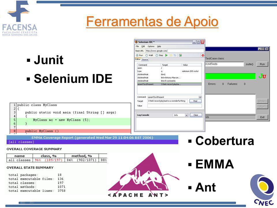 Ferramentas de Apoio Junit Selenium IDE Cobertura EMMA Ant