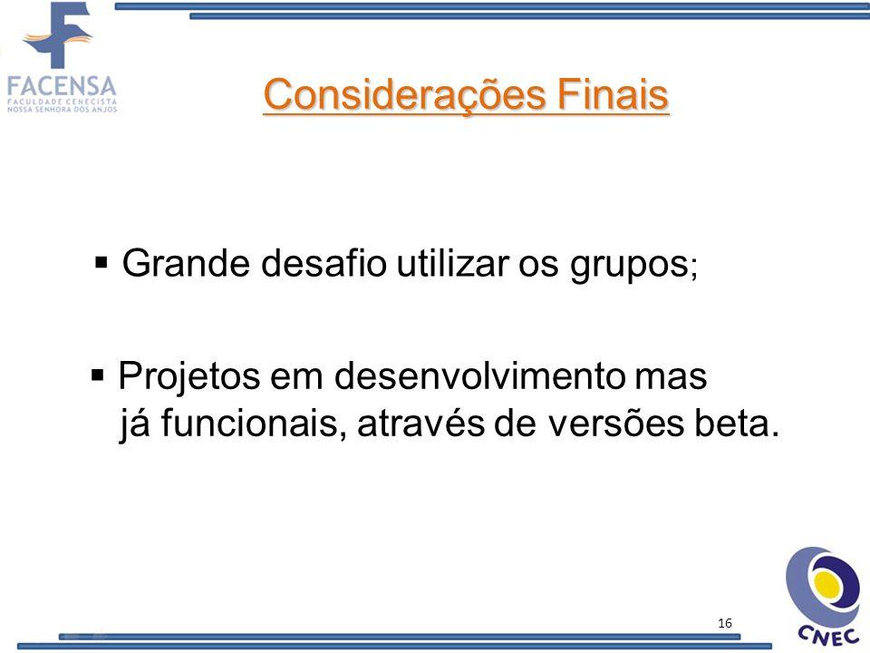 Considerações Finais Grande desafio utilizar os grupos;