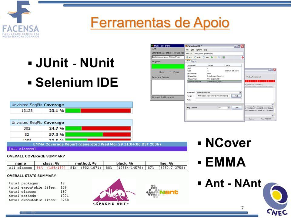 Ferramentas de Apoio JUnit - NUnit Selenium IDE NCover EMMA Ant - NAnt