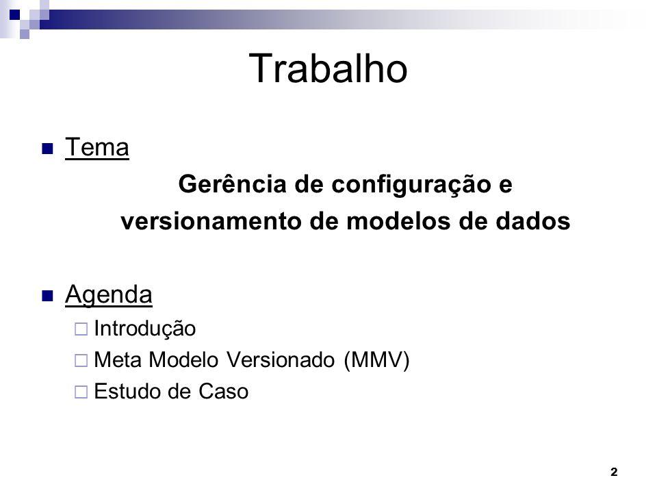 Gerência de configuração e versionamento de modelos de dados