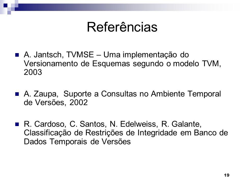 Referências A. Jantsch, TVMSE – Uma implementação do Versionamento de Esquemas segundo o modelo TVM, 2003.