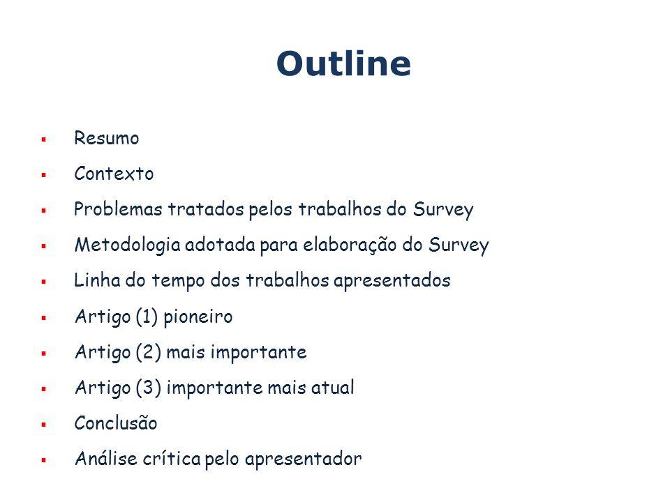 Outline Resumo Contexto Problemas tratados pelos trabalhos do Survey