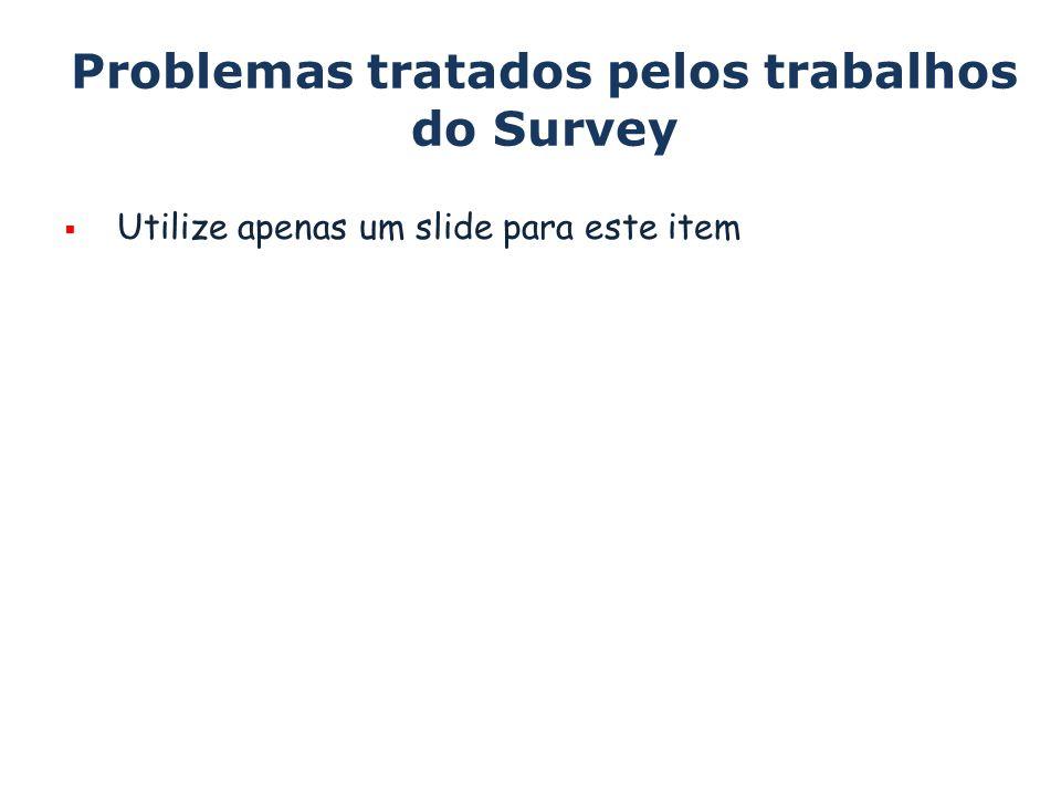 Problemas tratados pelos trabalhos do Survey