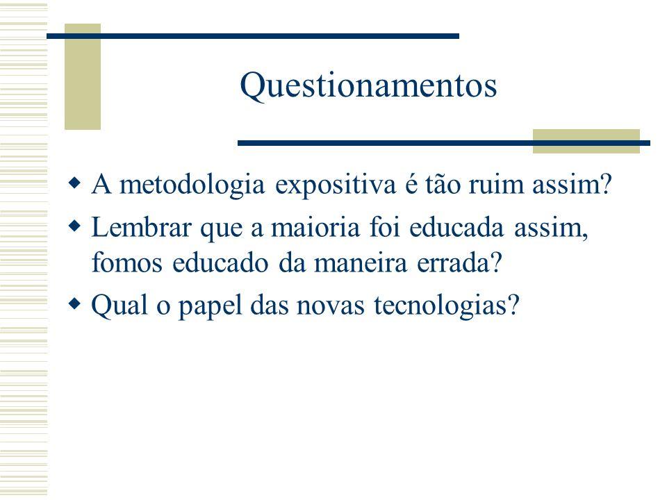 Questionamentos A metodologia expositiva é tão ruim assim