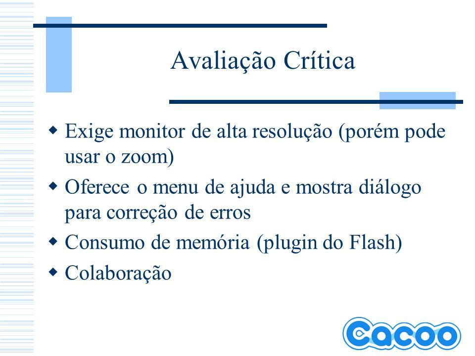 Avaliação Crítica Exige monitor de alta resolução (porém pode usar o zoom) Oferece o menu de ajuda e mostra diálogo para correção de erros.
