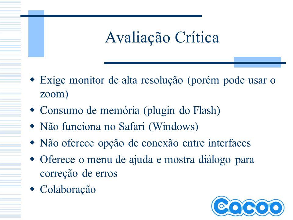 Avaliação Crítica Exige monitor de alta resolução (porém pode usar o zoom) Consumo de memória (plugin do Flash)