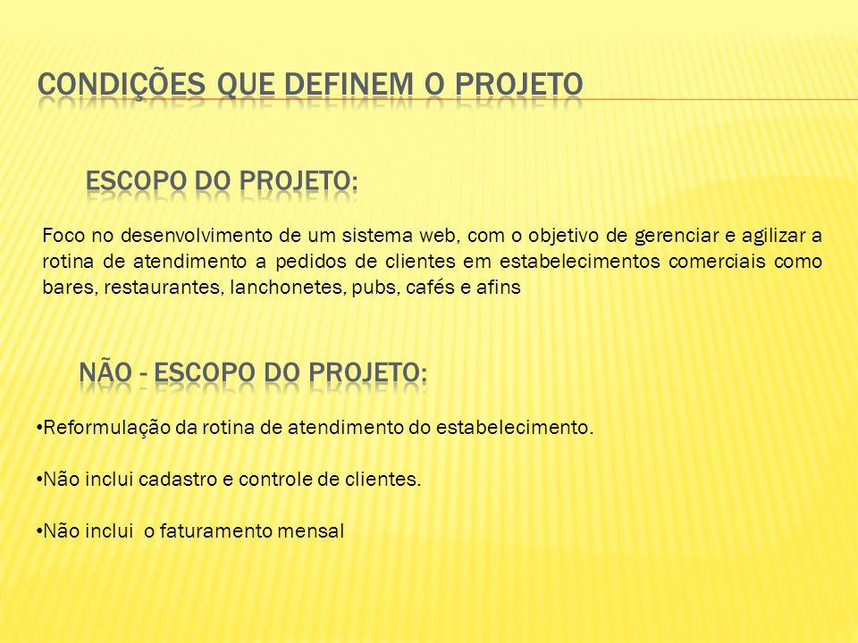 Condições que Definem o Projeto