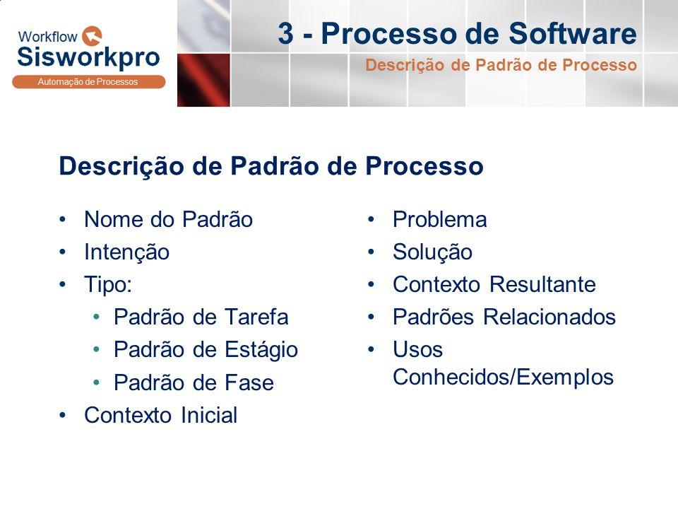3 - Processo de Software Descrição de Padrão de Processo