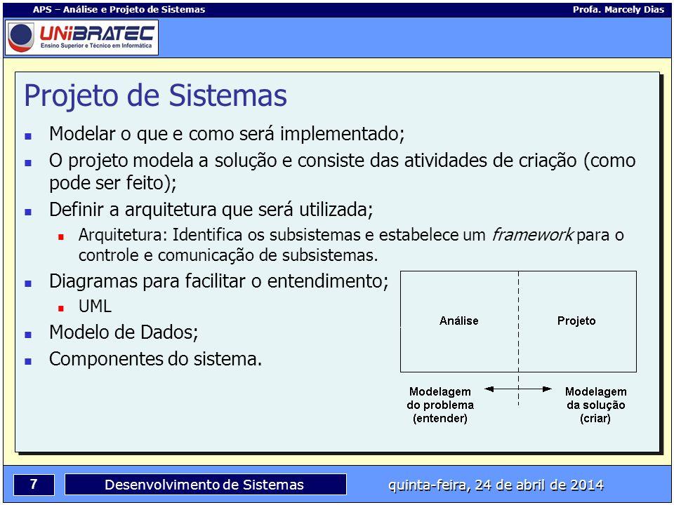 Projeto de Sistemas Modelar o que e como será implementado;