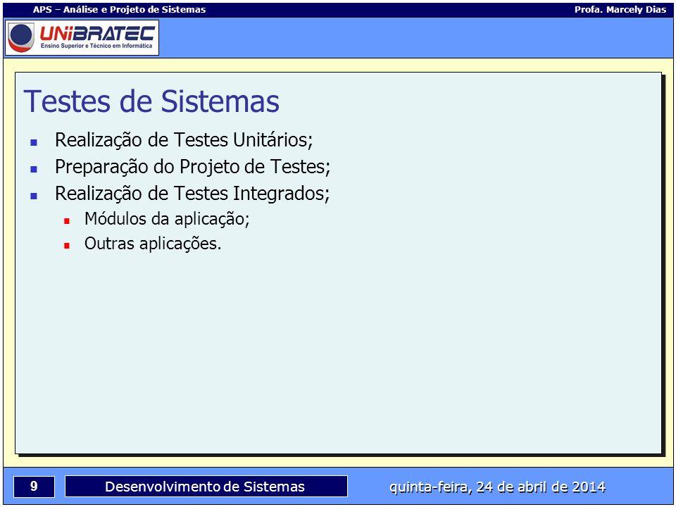 Testes de Sistemas Realização de Testes Unitários;