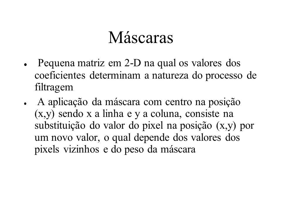 Máscaras Pequena matriz em 2-D na qual os valores dos coeficientes determinam a natureza do processo de filtragem.