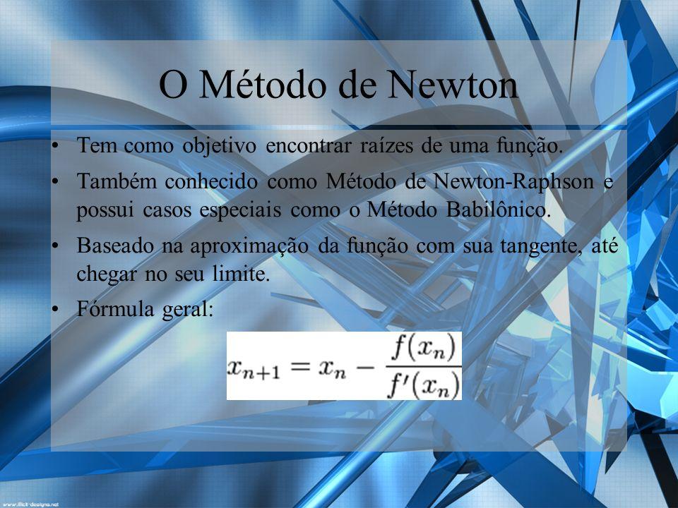 O Método de Newton Tem como objetivo encontrar raízes de uma função.
