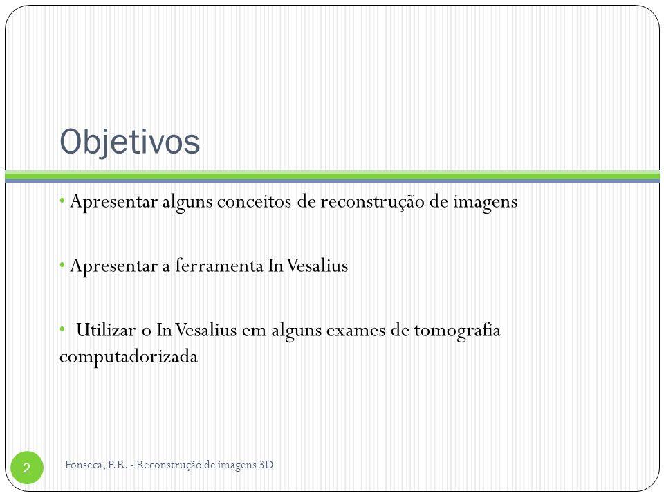Objetivos Apresentar alguns conceitos de reconstrução de imagens