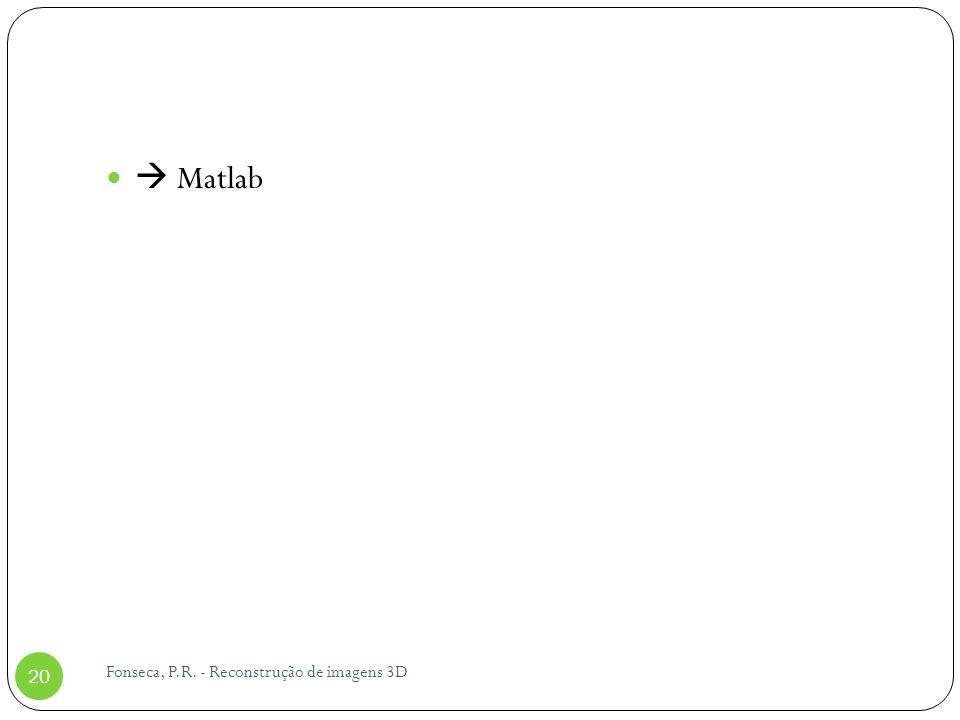  Matlab Fonseca, P.R. - Reconstrução de imagens 3D