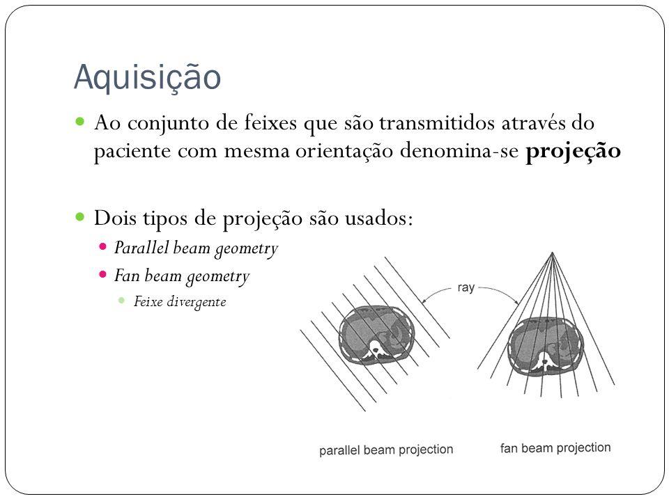 Aquisição Ao conjunto de feixes que são transmitidos através do paciente com mesma orientação denomina-se projeção.