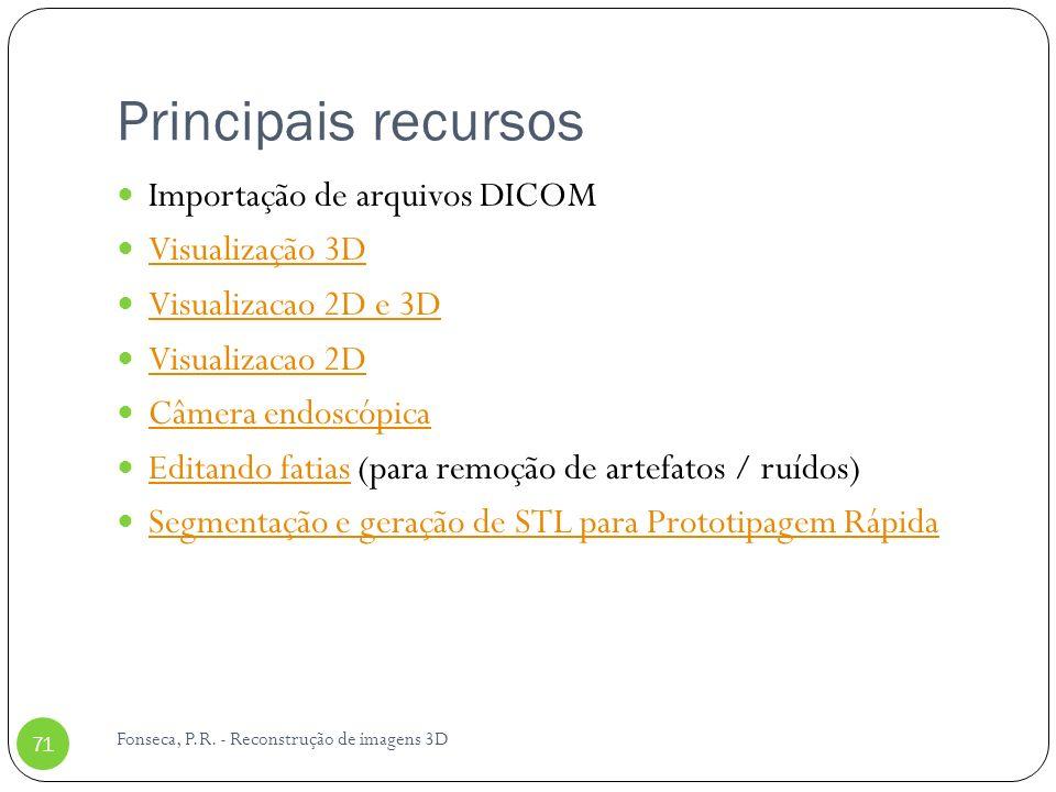 Principais recursos Importação de arquivos DICOM Visualização 3D