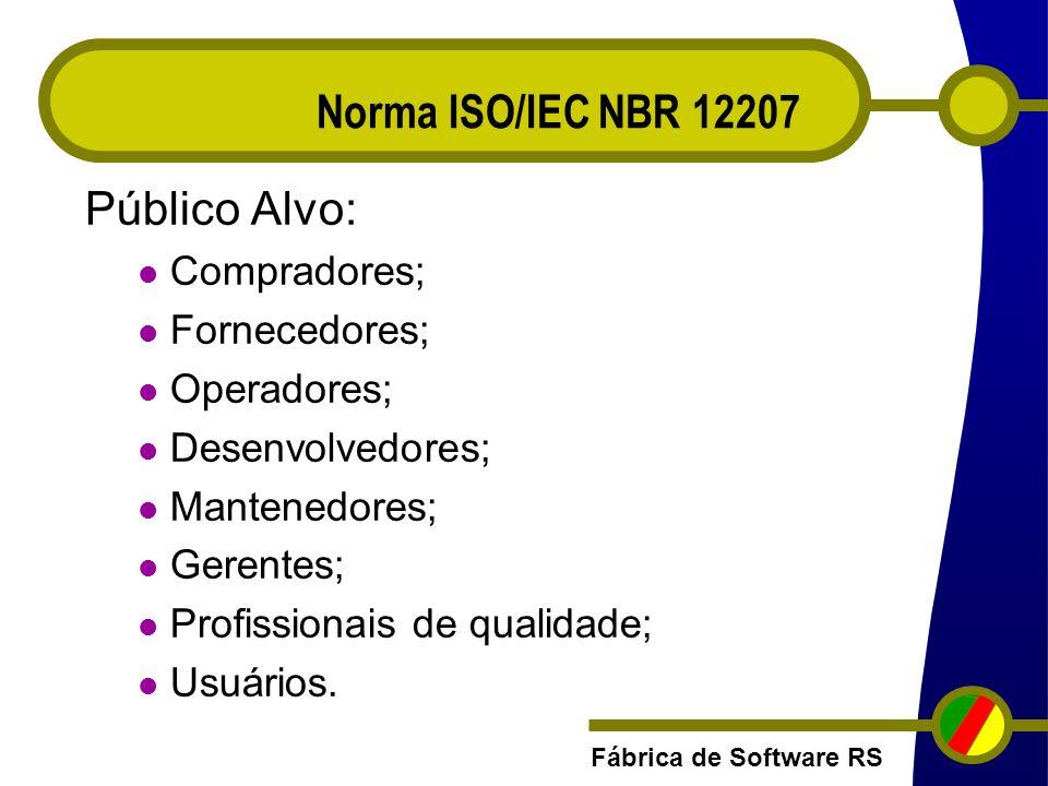 Norma ISO/IEC NBR 12207 Público Alvo: Compradores; Fornecedores;